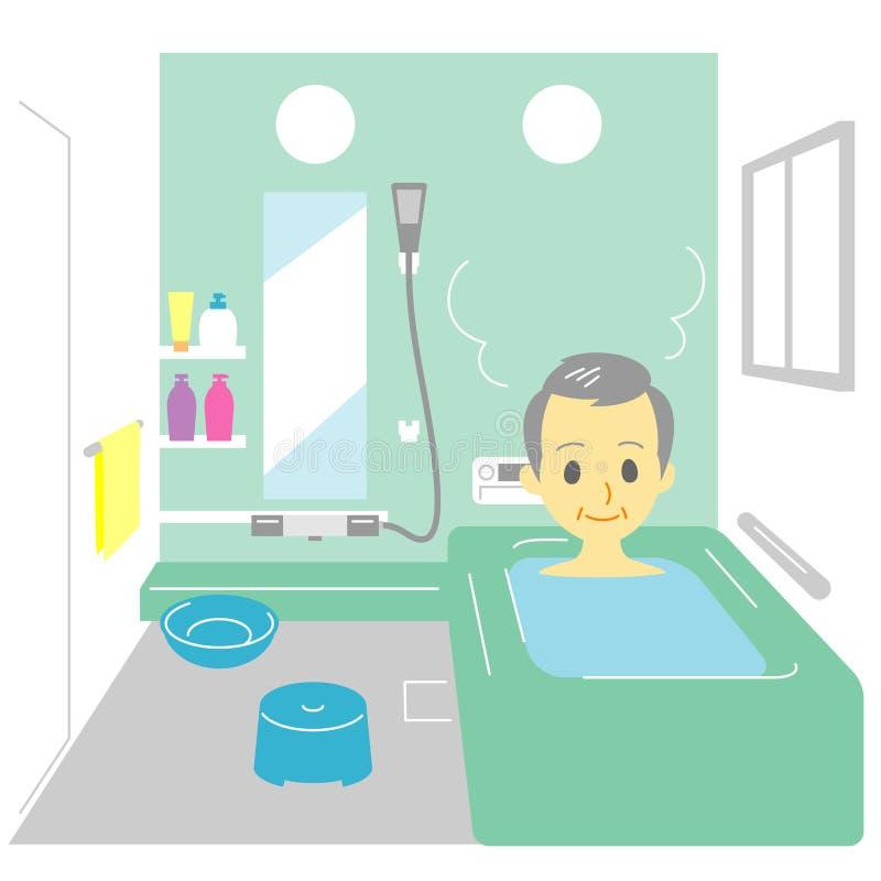 Taking a bath, old man. File stock illustration
