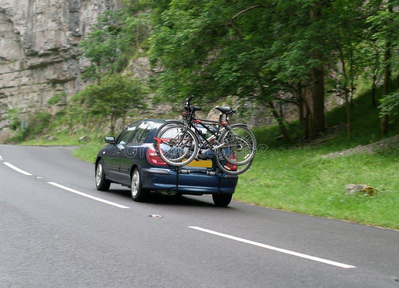 Taking the bikes stock image