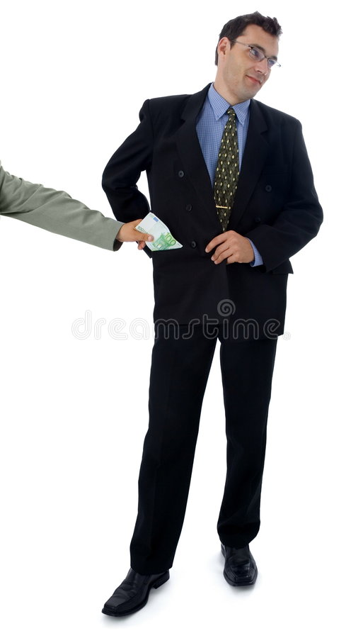 Taking bribe. Businessman or politician kindly taking bribe stock photo