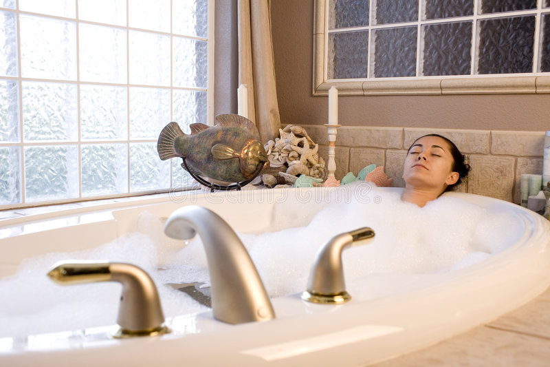Download Taking bubble bath stock image. Image of pretty, lying - 7811971