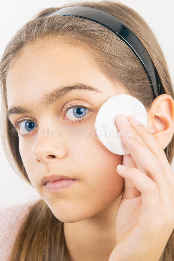 Taking care of skin for girls stock photo