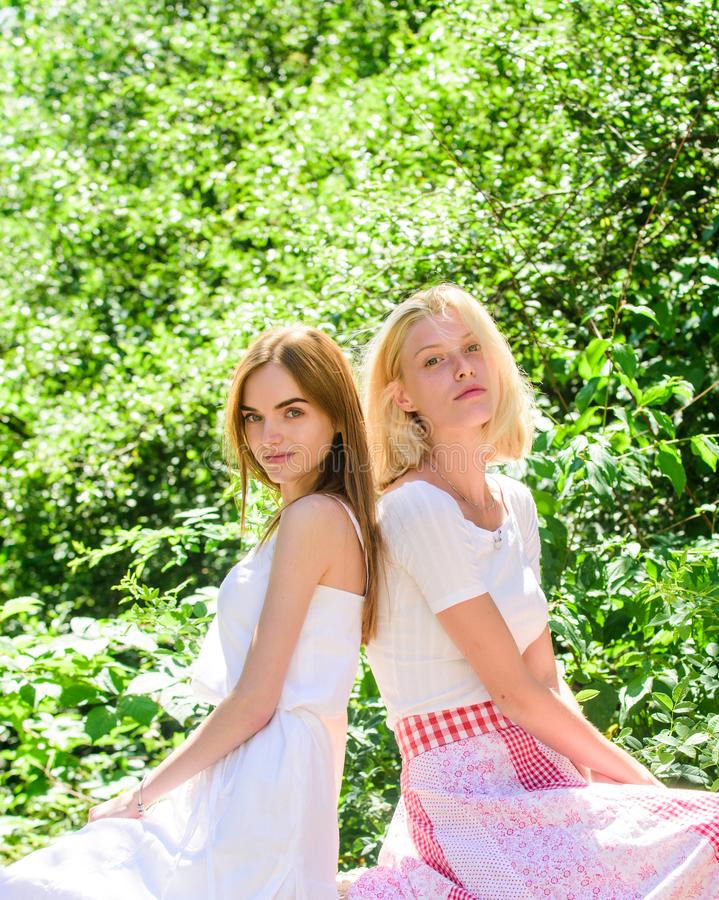 Taking care of skin. natural beauty. summer fashion. beautiful women in green park. freshness of healthy skin. skincare. And wellness. spring nature lovers royalty free stock images