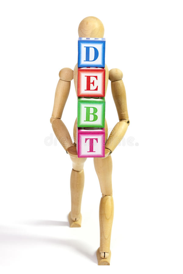 Taking debt along. Mannequin heavily loaded with debt in the back royalty free stock photo