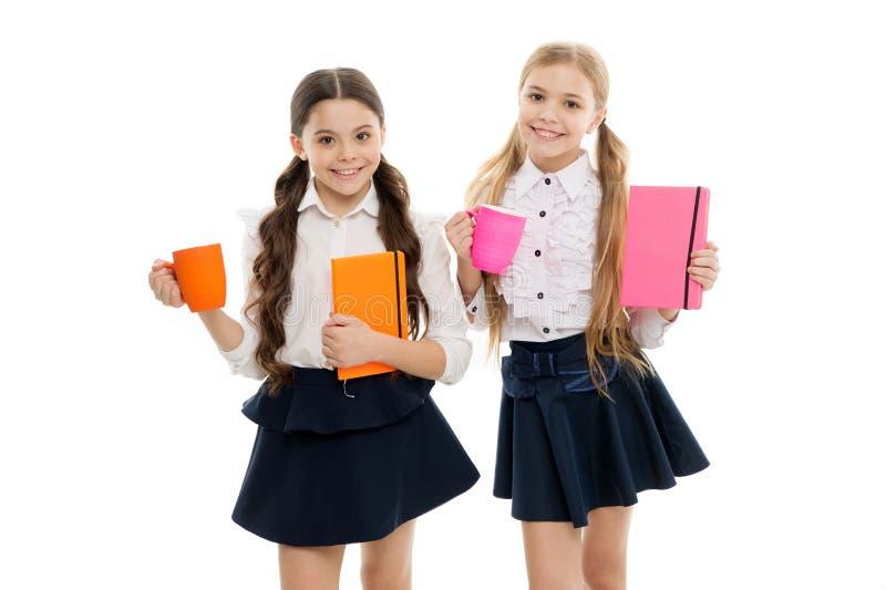 Taking a few minutes break from their books. Little schoolgirls having tea with milk for break. Small school children royalty free stock photo
