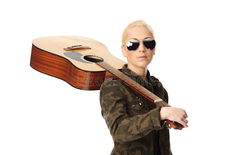 Taking the guitar with me royalty free stock photos