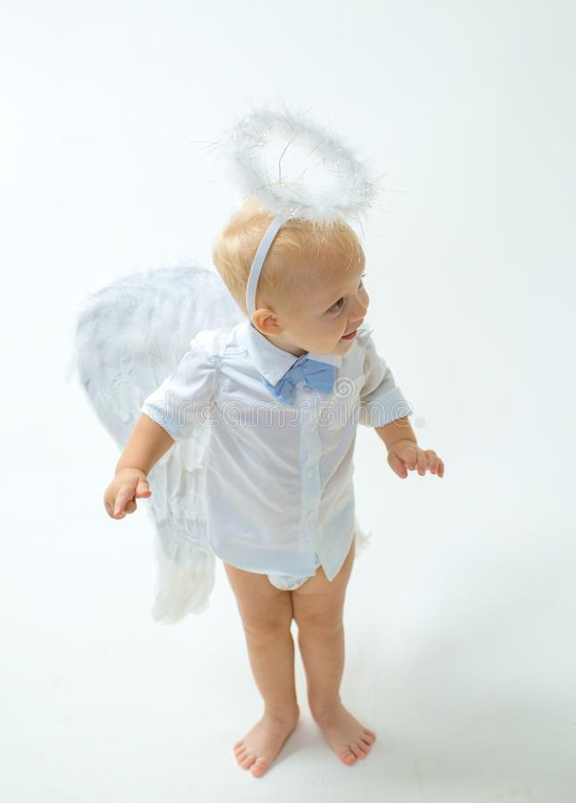 Taking on a holiday atmosphere. Baby angel. Adorable little angel boy. Little boy with angel wings and halo. Cute royalty free stock photos