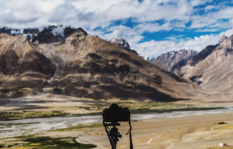 Taking landscape photography,Ladakh landscape in India stock photography