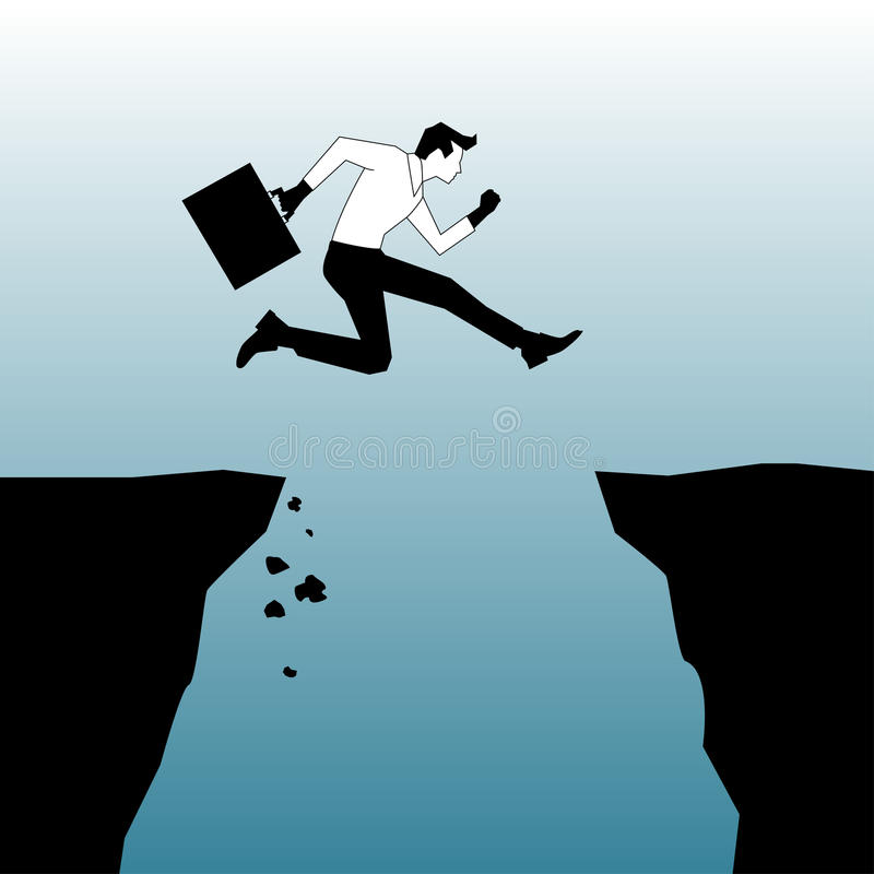 Taking a leap. Businessman taking a leap from one cliff to another vector illustration