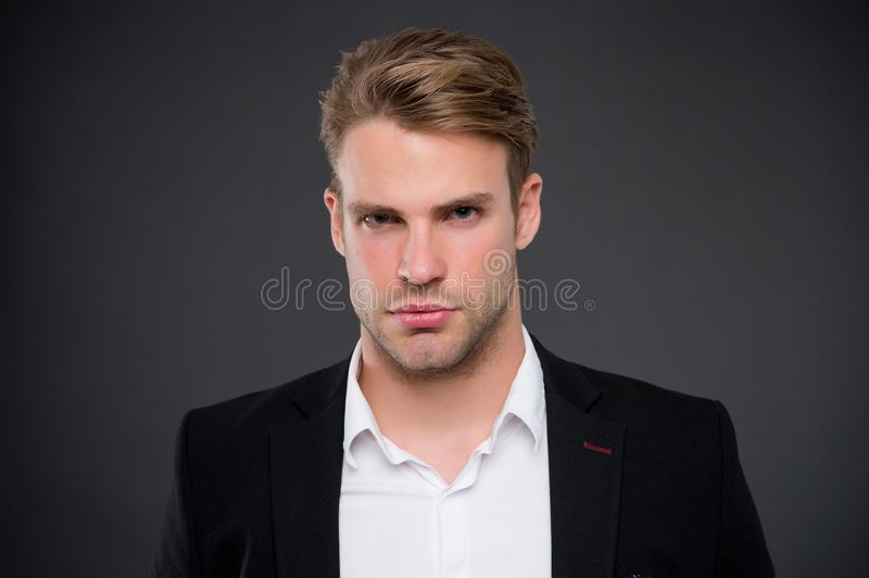 Taking life seriously. Man with bristle on unshaven face. Handsome businessman in formal wear. Barbershop salon and male stock photos