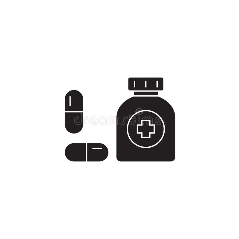 Taking medication black vector concept icon. Taking medication flat illustration, sign royalty free illustration