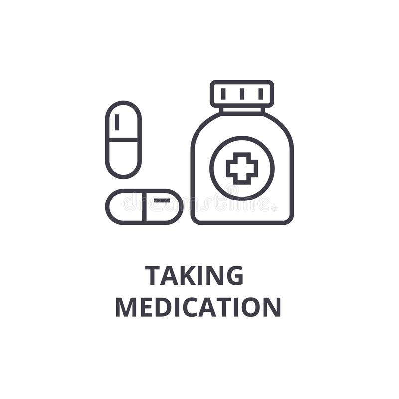 Taking medication thin line icon, sign, symbol, illustation, linear concept, vector royalty free illustration