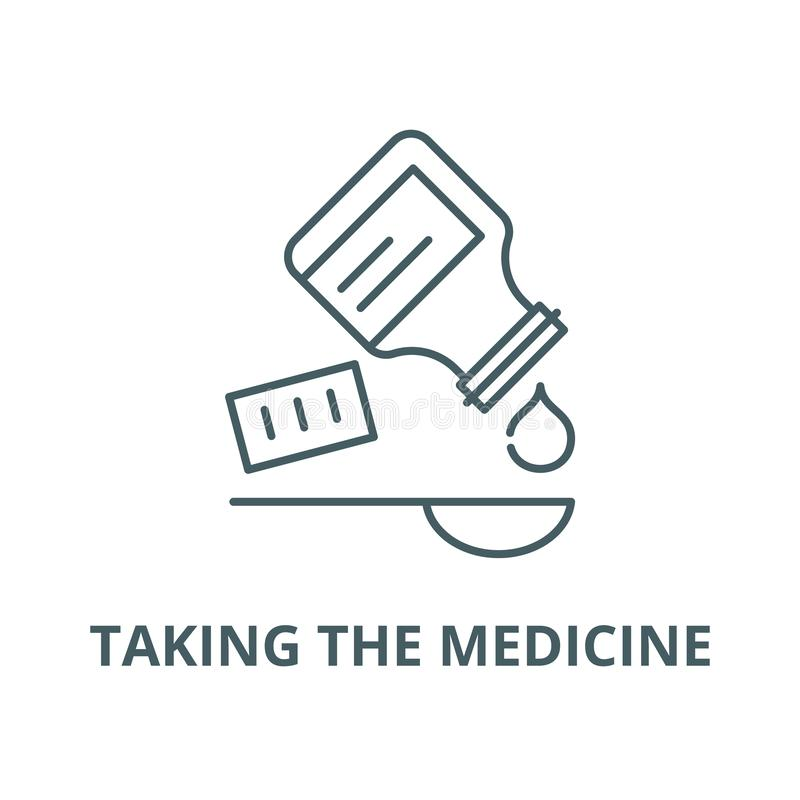 Taking the medicine vector line icon, linear concept, outline sign, symbol vector illustration