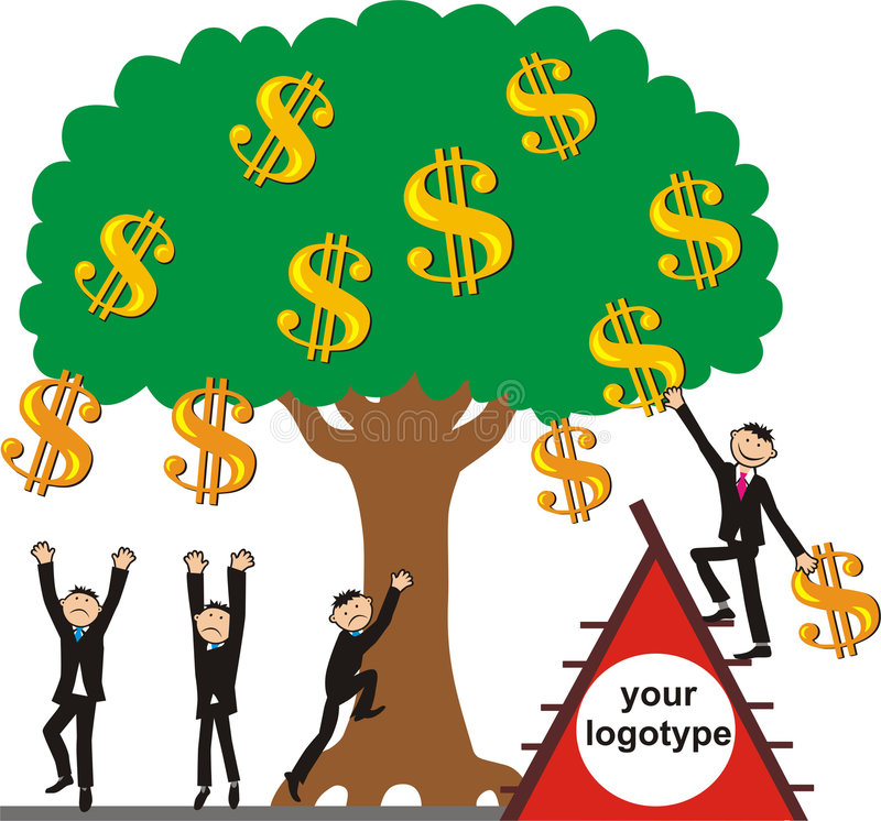 Taking the money crop. Young businessmen try to blow off dollars from a money tree, but only one luckiest businessman succeeds to obtain a dollar with a help royalty free illustration