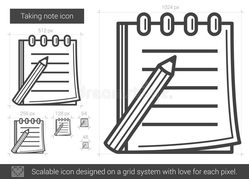 Taking note line icon. Taking note vector line icon isolated on white background. Taking note line icon for infographic, website or app. Scalable icon designed royalty free illustration