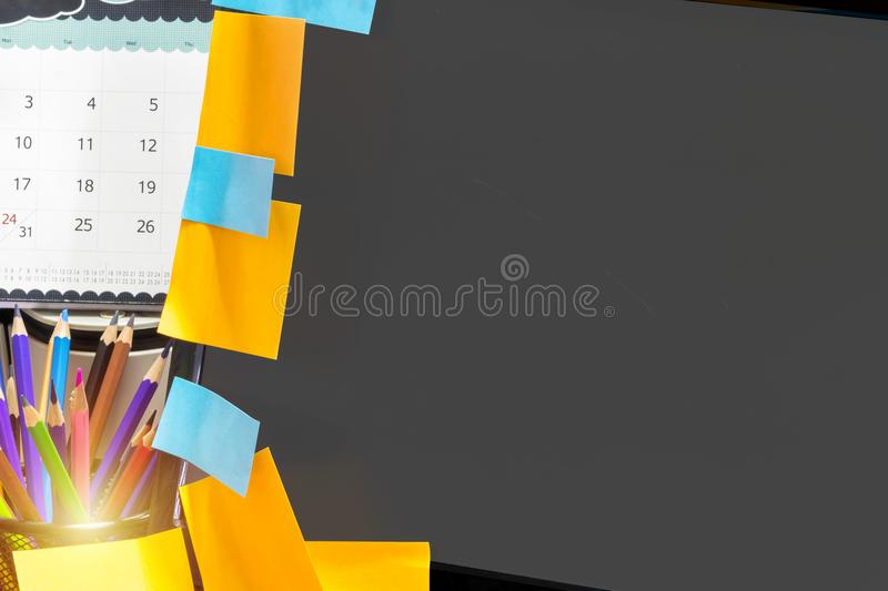 Written Post-it at computer royalty free stock image