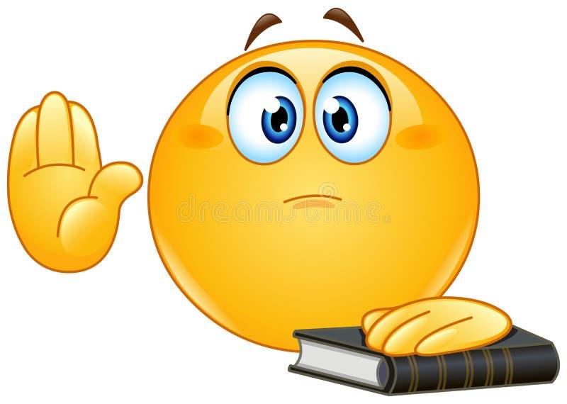 Taking oath emoticon stock vector. Illustration of ...