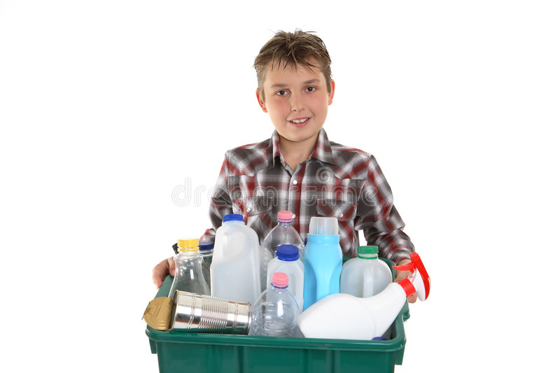 Taking out the recycling trash royalty free stock photography