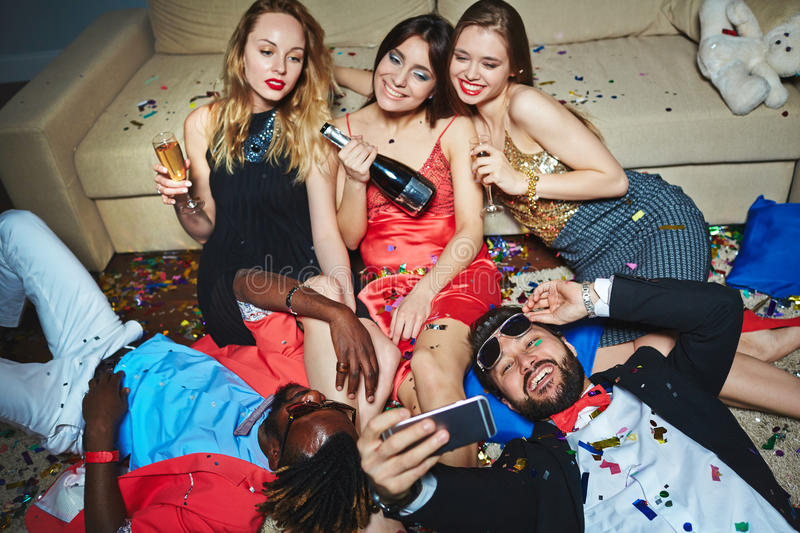 Taking party selfie royalty free stock photography