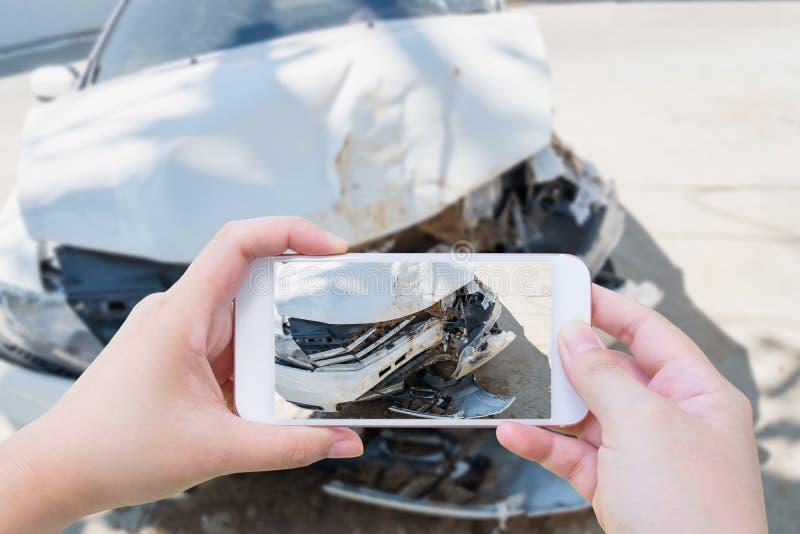 Taking photo of the car crash accident damage stock image