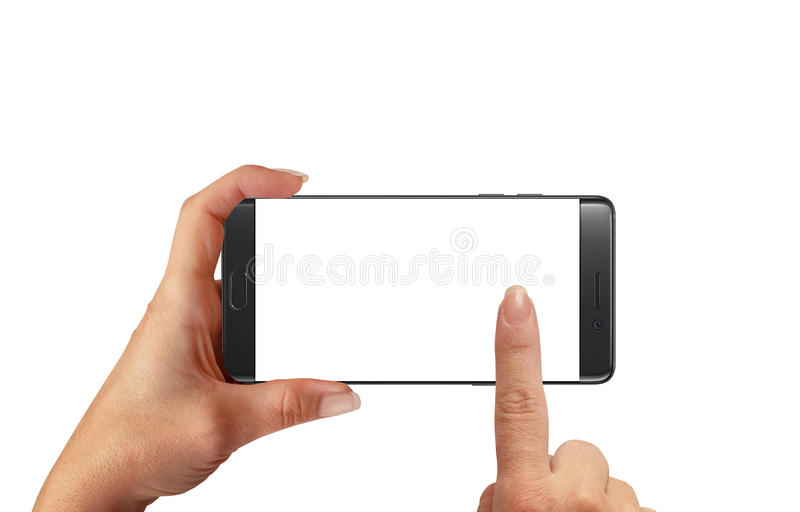 Taking photo with modern smart phone with blank screen for mockup royalty free stock image