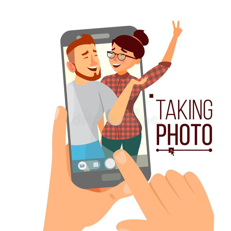 Taking Photo On Smartphone Vector. Smiling People. Modern Friends Taking Vertical Selfie. Hand Holding Smartphone. Taking Photo On Smartphone Vector. Smiling vector illustration