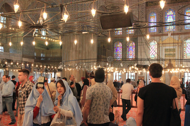 Taking photos of sightseeings, mosques of Istanbul, Turkey royalty free stock photo