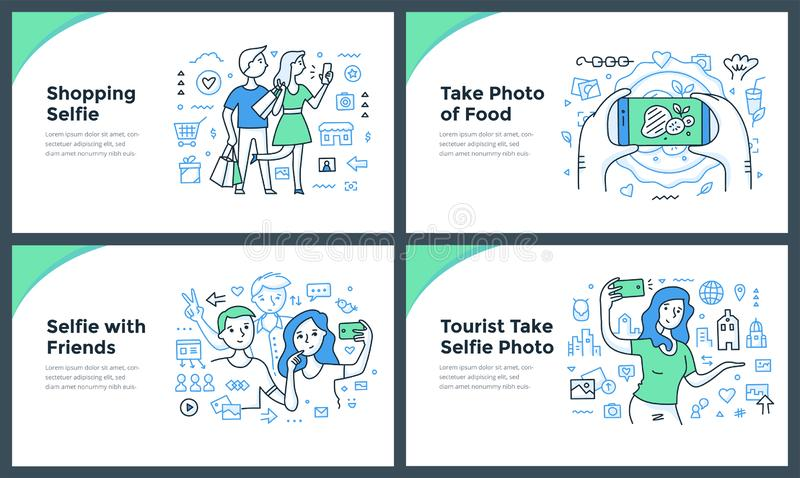 Taking Photos with Smartphone Doodle Concepts. Line illustrations of taking photos, catching the moments of everyday life & making selfies with smartphone vector illustration