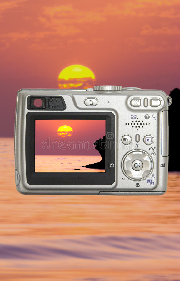 Taking picture with a digital camera stock photos
