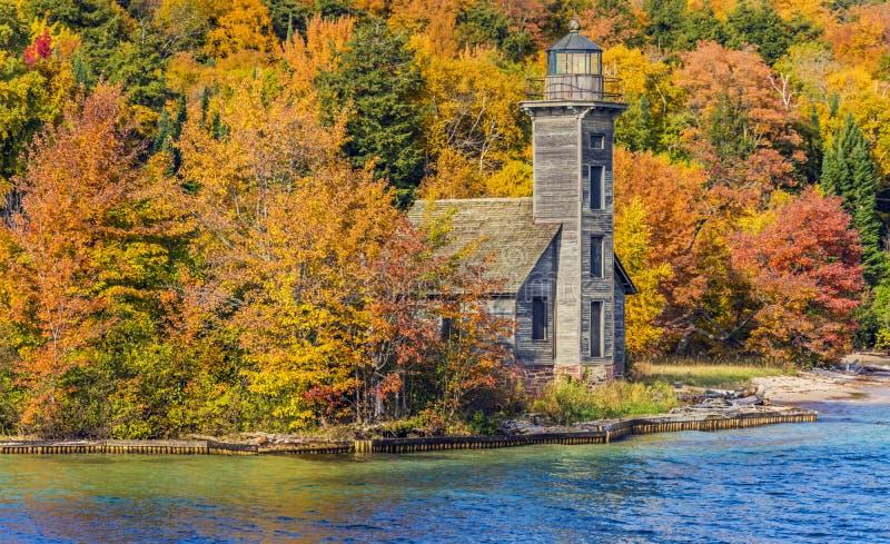 East Channel Lighthouse on Grand Island near Munising , Michigan stock photos