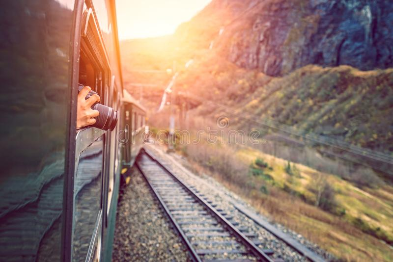 Taking pictures during trip on a Flamsbana train line stock images
