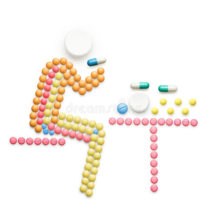Taking pills. vector illustration