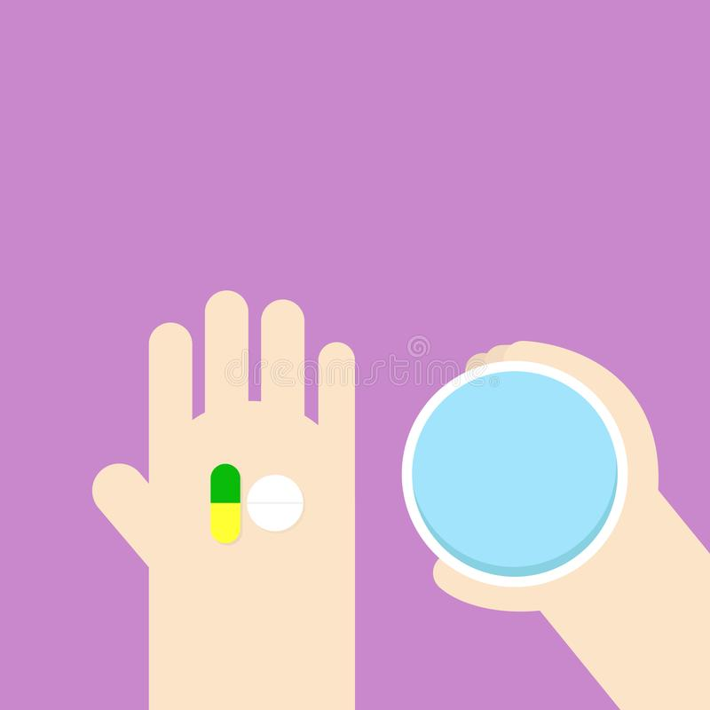 Taking the pills. Hand holding tablets and glass of water. royalty free illustration
