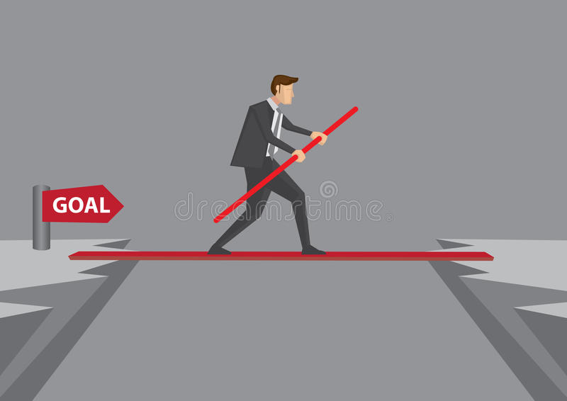 Taking risk and Overcoming Challenges to Reach Goal royalty free illustration