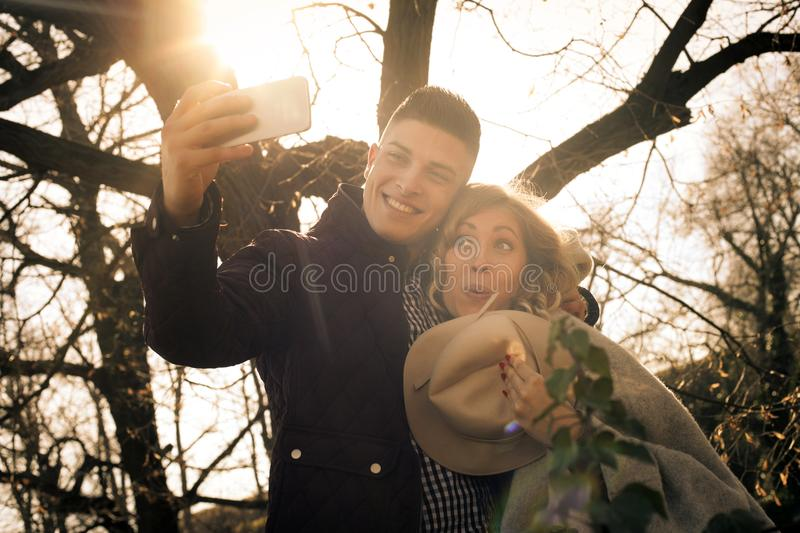 Taking self picture in nature. royalty free stock images