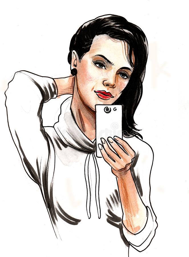 Taking selfie. Pretty girl taking selfie with a smartphone stock illustration