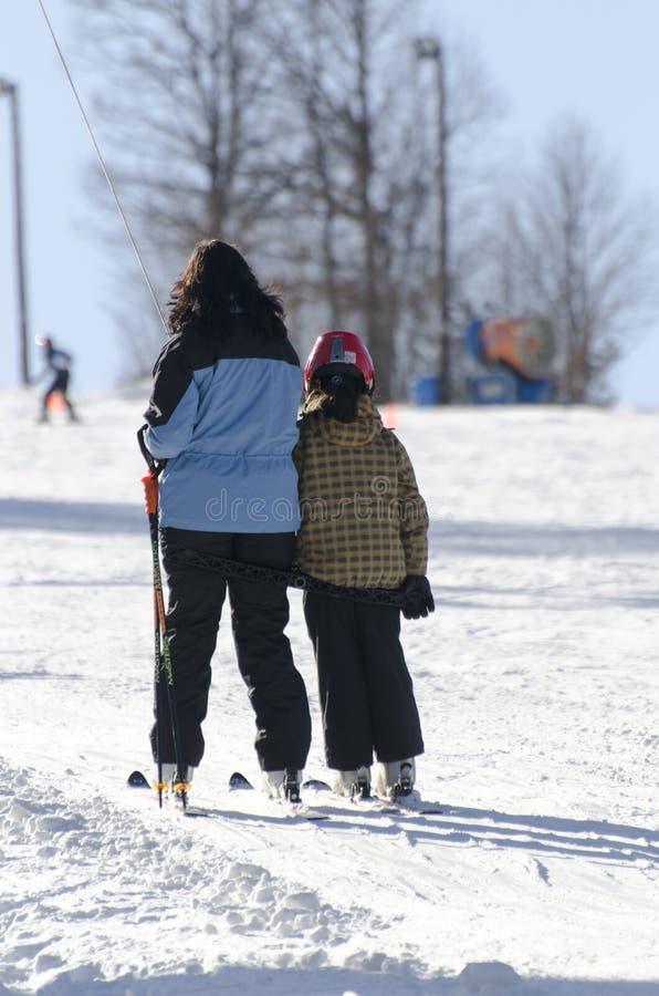 Taking the ski lift stock photo