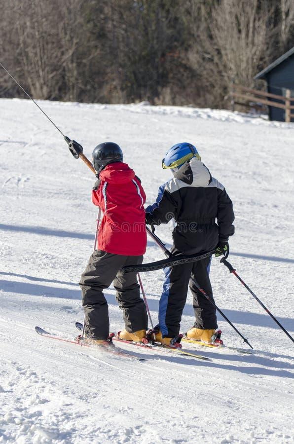 Taking the ski lift royalty free stock image