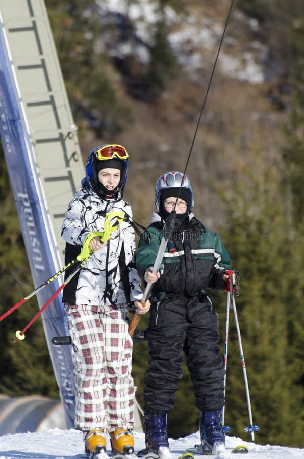 Taking the ski lift stock image