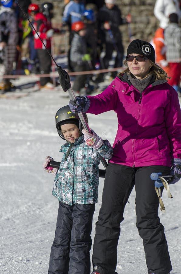 Taking the ski lift royalty free stock photo