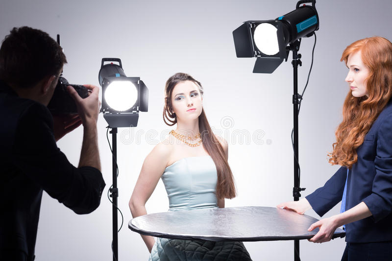 Taking their job seriously stock photography