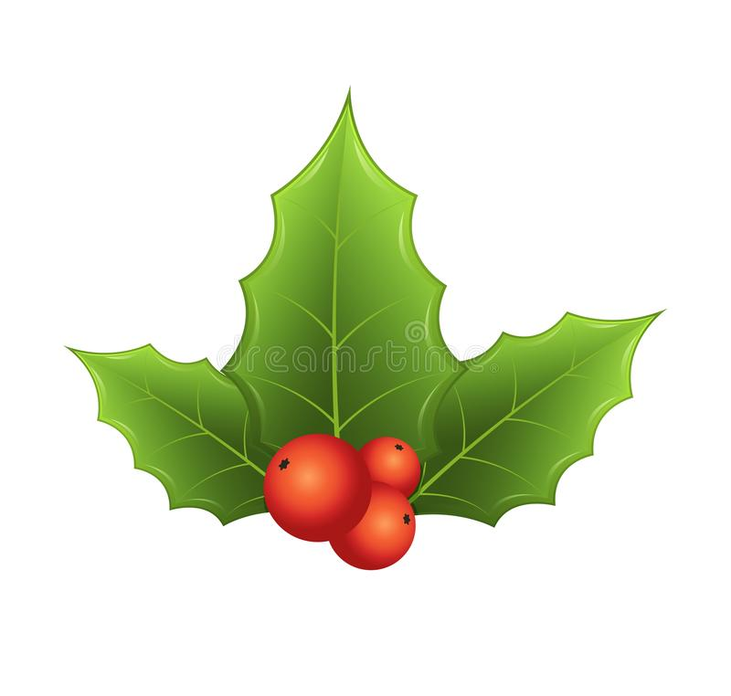 Takje van hulst met bladeren en rode bessen op witte achtergrond Feestelijk traditioneel symbool vector illustratie