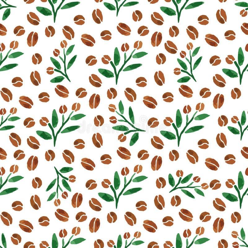 Takjes van koffie Waterverf naadloos patroon met koffietak met bladeren Vector illustratie stock illustratie