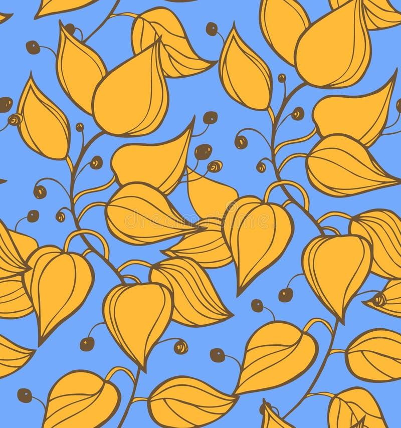Takken naadloze textuur. Decoratieve kleurrijke moderne bloemenachtergrond. Het patroon met vruchten en doorbladert op blauwe heme stock illustratie
