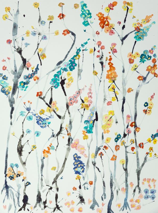 Takken van kersenbloesems met bloemen van verschillende kleuren royalty-vrije stock afbeeldingen