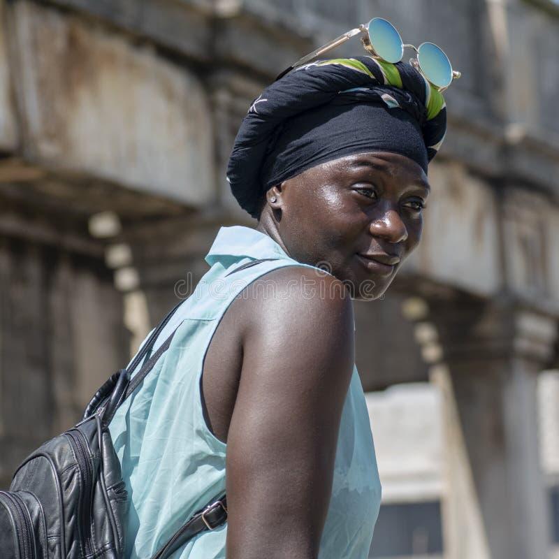 Africa woman in Takoradi Ghana. Takoradi is an old place after the coast of Ghana stock photo