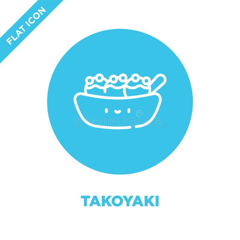 takoyaki icon vector from take away collection. Thin line takoyaki outline icon vector  illustration. Linear symbol for use on web stock illustration