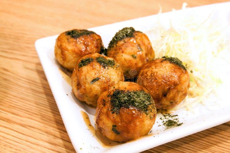 Takoyaki, Japanese snack food. Takoyaki on dish , Japanese snack food stock image