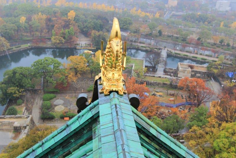 Takprydnad på Osaka Castle i form av shachi royaltyfri foto