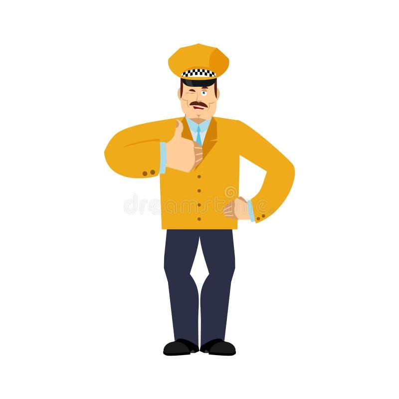 Taksówkarzy mrugnięcia i aprobaty Cabdriver szczęśliwy emoji Cabbie wektoru ilustracja ilustracja wektor