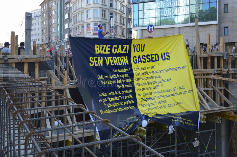 Taksim Gezi Park protests and Events. The view from Taksim Square. A poster of the demonstrators royalty free stock images